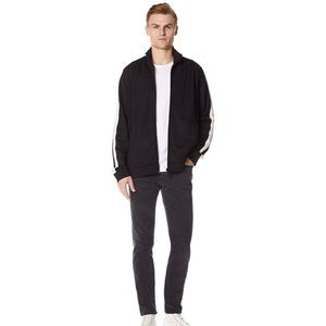 Vince Men's Stripe Track Black Jacket Zip
